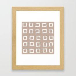 Square Stroke Dots White on Nude Framed Art Print