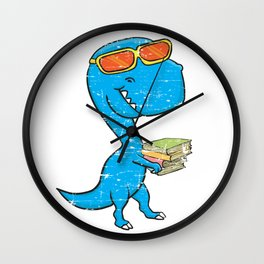 Dino Carrying Books Wall Clock