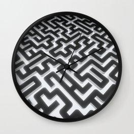 Maze Silver Black Wall Clock