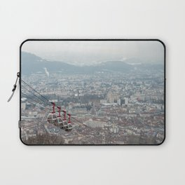 Overlooking the city of Grenoble in France with Les Bulles passing by Laptop Sleeve