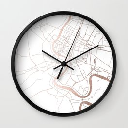 Bangkok Thailand Minimal Street Map - Rose Gold Pink and White Wall Clock