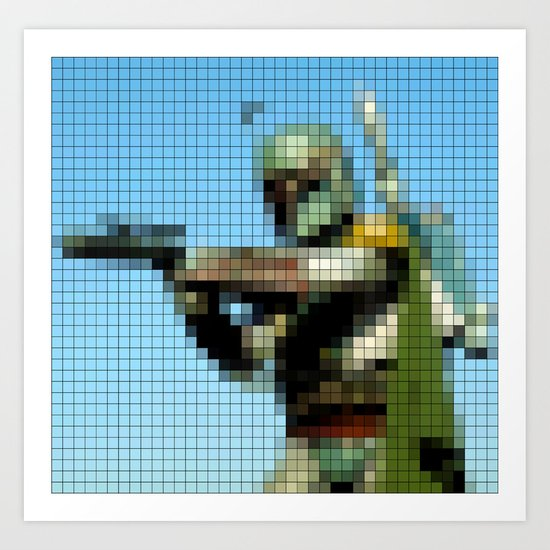 Boba Fett with Blaster Pixel Art Print