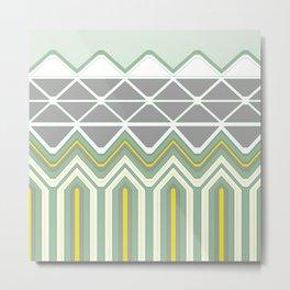 Grey Lime Green Geo Pattern Metal Print