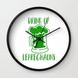 Drink Up Leprechauns Green Beer Drinking St Patricks Wall Clock