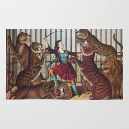 The Lion Queen - Vintage Circus Art, 1873 Rug