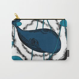 Space whale floating in space surreal illustration blue Carry-All Pouch