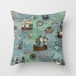Pirate Ships Nautical Map Throw Pillow