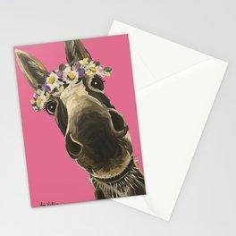 Pink Donkey Art, Flower Crown Donkey Art Stationery Cards