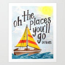 Oh the Places You'll Go - Dr. Seuss Art Print