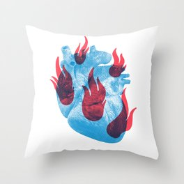 Heart in flames Throw Pillow