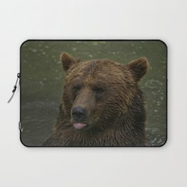 Grizzly Blows A Raspberry Laptop Sleeve