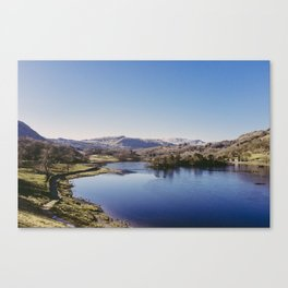 frozen surface. rydal water, lake district, uk Canvas Print