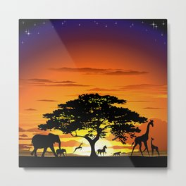 Wild Animals on African Savanna Sunset  Metal Print
