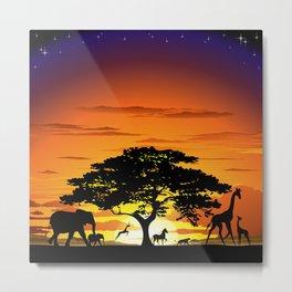 Wild Animals on African Savanna Sunset Metal Print