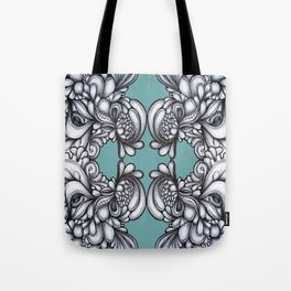 Drips on Teal. Black and white pen illustration pattern.  Tote Bag