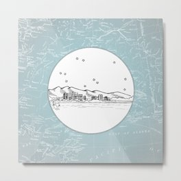 Anchorage, Alaska City Skyline Illustration Drawing Metal Print