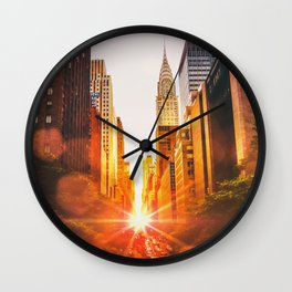 NYC Skyline Sunset Wall Clock