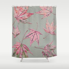 Japanese maple leaves - apricot on light khaki green Shower Curtain