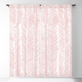 Living Coral Herringbone Blackout Curtain