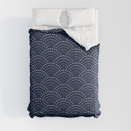Japanese Blue Wave Seigaiha Indigo Super Moon Pattern Comforters