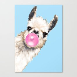 Bubble Gum Sneaky Llama in Blue Canvas Print
