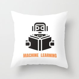 Machine Learning robot Throw Pillow