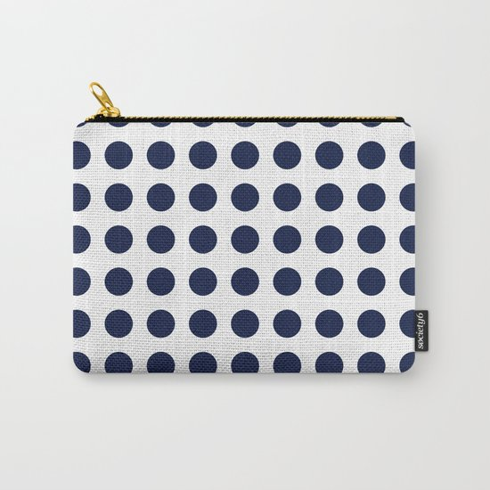 Simply Polka Dots in Nautical Navy Blue Carry-All Pouch