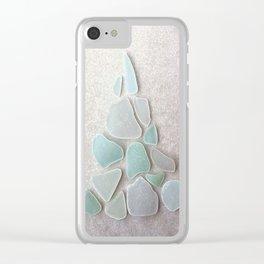 Sea Foam Sea Glass Christmas Tree #Christmas #seaglass Clear iPhone Case