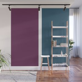 Dark teal, burgundy and white color-block Wall Mural