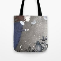 twilight Tote Bags featuring Winter Twilight by Judith Clay