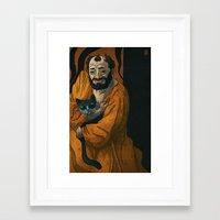 gustav klimt Framed Art Prints featuring Gustav Klimt & Cat by Theodore Taylor III