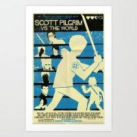 scott pilgrim Art Prints featuring Scott Pilgrim Vs The World by Mark Welser