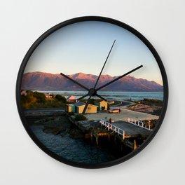 kaikoura warf sunrise mountains colors new zealand Wall Clock