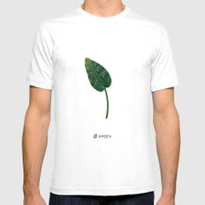# Green MEDIUM Mens Fitted Tee White
