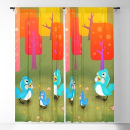 Happy Little Bluebirds Sing Their Song Blackout Curtain