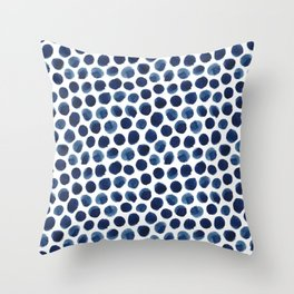 Large Indigo/Blue Watercolor Polka Dot Pattern Deko-Kissen