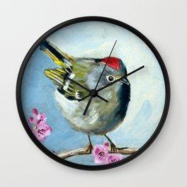Ruby Crowned Kinglet Wall Clock