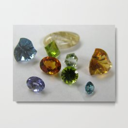 Faceted Colored Stones Metal Print