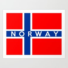 Norway country flag name text Art Print