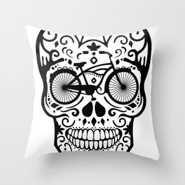 Vintage Mexican Skull with Bicycle - black and white Throw Pillow