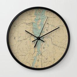 Vintage Lake Champlain Lighthouse Map (1896) Wall Clock
