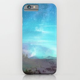 Abstract blue Northern Lights glitch  iPhone Case