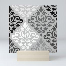 Scroll Damask Ptn Art BW & Grays Mini Art Print