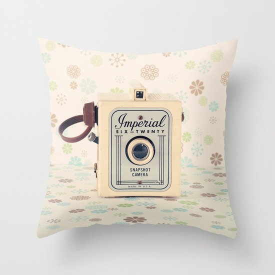 Retro Film Camera on Beige - Cream Pattern Background  Throw Pillow