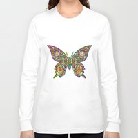psychedelic art Long Sleeve T-shirts featuring Butterfly Psychedelic Art Design by BluedarkArt