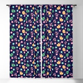 Freely Birds Flying - Fly Away Version 3 - Berry Blue Color Blackout Curtain
