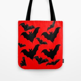 HALLOWEEN BATS ON BLOOD RED DESIGN Tote Bag