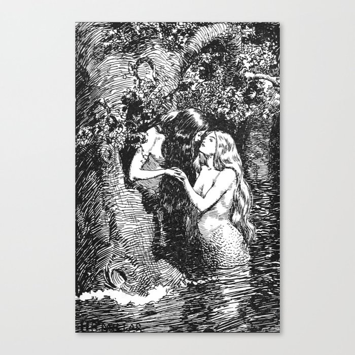 The Nymph Caught the Dryad in Her Arms - HR Millar (1904) Leinwanddruck