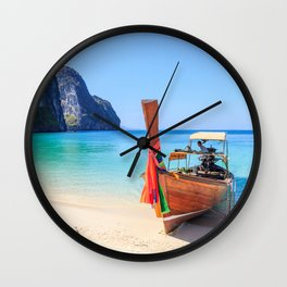 Long tail boat on white sand beach land Wall Clock
