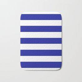 Cadmium blue - solid color - white stripes pattern Bath Mat